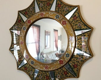 Vintage Beautiful Hand Crafted and painted Peruvian Mirror