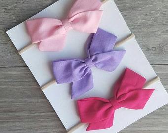 3 pack sailor bow, fabric bows, purple bow, purple fabric bow, pink fabric bow, pink bow, spring bows, easter bows, baby headband