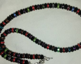 "24""L Crystals and Black Agate Necklaces with Earrings"