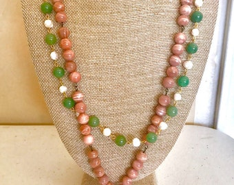 Beaded Green/Pink/White Double-Stranded Necklace with Emerald Green Pendant