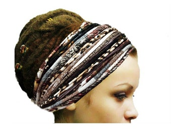 Dreadlock Accessories Brown Autumn Woodland Headband Head Scarf Fashion Headbands Patchwork Boho Gypsy Headband Yoga Boho Hippie Headwear