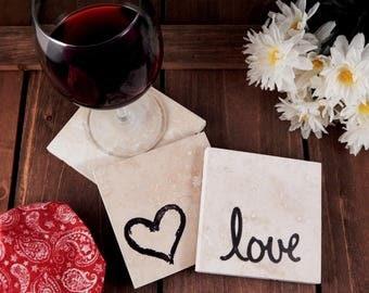Set of 4 Hearts & Love Travertine Stone Coasters