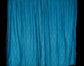 Turquoise and royal blue curtain panels large w blackout synthetic backing - damask vintage 60's