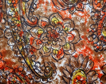 Abstract paisley and floral midcentury silk fabric - sketchy handdrawn flowers and paislies in brown, yellow, orange white pattern