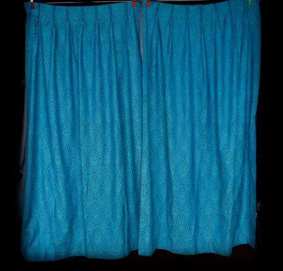 Turquoise And Royal Blue Curtain Panels Large W Blackout