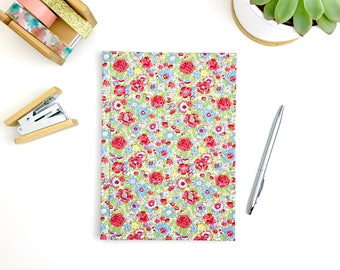 A5 harback notebook, Liberty print fabric covered journal with lined pages, stationery, workbook