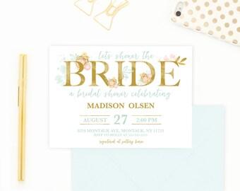 Bridal Shower Invitation, Bridal Shower Invite, Boho Bridal Shower Invitation, Mint and Gold Bridal Shower, Mint Bridal Shower Invite [506]