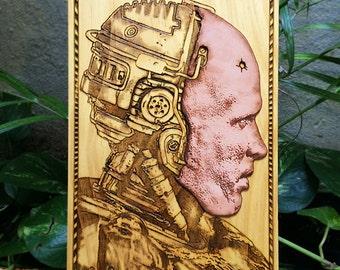 RoboCop cuir visage affiche d'Art en bois - masque en cuir, film Art Movie Fan cadeau Unique pour homme, Man Cave Decor, édition limitée de l'un