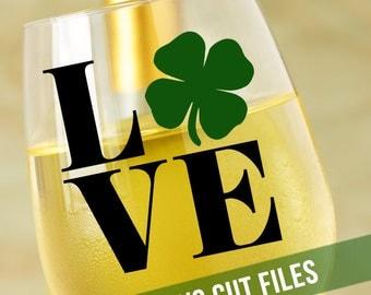 Shamrock Love SVG Celtic Svg Cutting File Vinyl Cutting Decal Shamrock SVG file Silhouette Cameo Cut Files St Patricks Day Svg Wine SVG