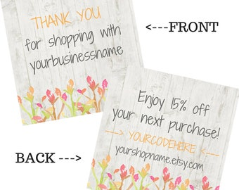 Square COUPON CODE Thank You cards, Thank you coupon, Coupon code cards, Packaging inserts, Shop supplies, Shipping supplies, Double sided