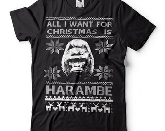 Harambe T-Shirt Funny Ugly Christmas Sweater T-Shirt Harambe