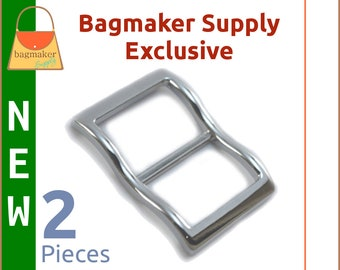 1 Inch Large Mouth Curved Slide Buckles for Thick Straps, Nickel Finish, 2 Pack, Great For Leather, Handbag Hardware, BKS-AA126 New Item