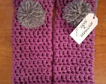 Leg Warmers (Purple with Gray Pom Pom) PetraBaye