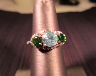 Cool Vintage Sterling Silver Green Gemstone Ring - 5