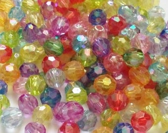 50pcs Faceted AB Beads - Assorted Beads - 8mm Beads - Craft Beads - Plastic Beads - Jewelry Making Supplies - B24408