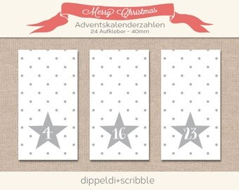 Advent calendar numbers sticker grey points
