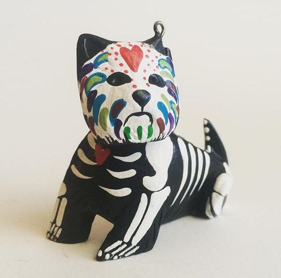 Day Of The Dead Westie Maltese Dog Ornament Dog Sugar