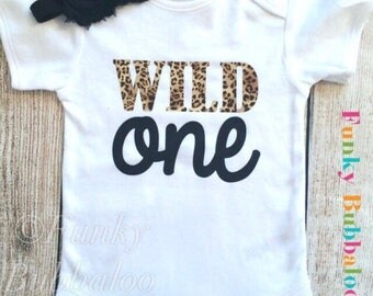 Baby Girl Outfit - Leopard Print - Bodysuit, Headband, First 1st Birthday Outfit, Photo Prop, Newborn Baby Shower Gift Cake Smash Onesie