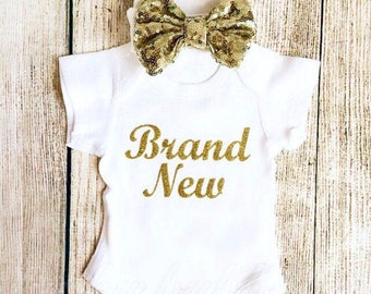 Brand New Newborn Outfit - Baby Girl Bodysuit & Hat - Going Home, Photoshoot, Photo Prop, Baby Shower Gift Vest Bow Gold Glitter