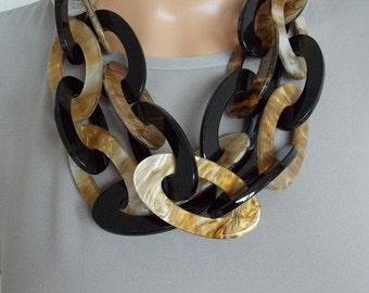 Chunky Black and Beige Acrylic Chain Statement Necklace