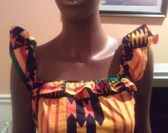 African Kente Print crop top exaggerated sleeves S-xl Free shipping