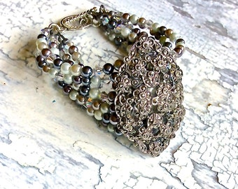 Delicate bracelet, antique sterling marcasite bracelet, hand beaded, multi strand jewelry, pearls and crystals