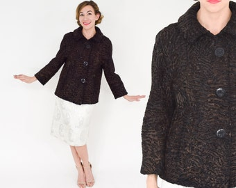 60s Persian Lamb Short Coat | Brown  & Black Persian Lamb Jacket | Kaufman Bros | Medium