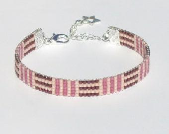Mauzie Miyuki Delica Beaded Bracelet Bead Woven Bracelet Everyday Bracelet Handmade Bracelet Jewelry Beads Raspberry Rose Salmon