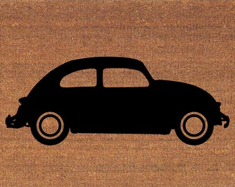 "VW Beetle Bug Car Door Mat - Coir Doormat Rug - 2' x 2' 11"" (24 Inches x 35 Inches) - Welcome Mat - Housewarming Gift"