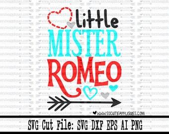 Little mister romeo svg, valentine svg, Valentines Day SVG, new baby svg, Romeo svg, mamas boy svg, boys valentine svg, socuteappliques