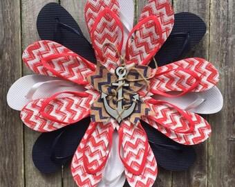 Nautical Flip flop wreath Red white and blue Nautical door hanger Patriotic flipflop wreath chevron anchor