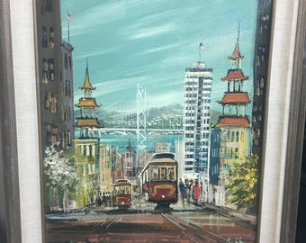 Vintage Signed Acrylic painting on Canvas by John Checkley- 1977