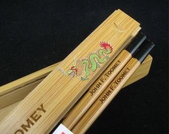 Chopstick Box - Personalized Chopsticks - Personalized Chopstick Box with chopsticks -Year of the Dragon - Dragon Chopsticks Box