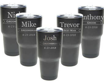 Groomsmen Tumblers, 30 oz. Black Coated Groomsmen Gift, Custom Engraved 30 oz. Tumblers, ANY QUANTITY