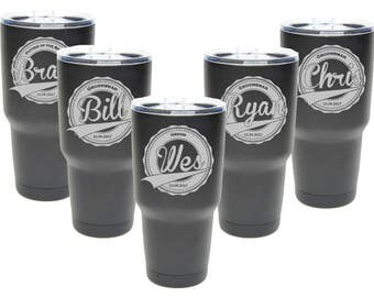 Groomsmen Tumbler 30 oz. Coated Custom Engraved Stainless Steel Tumbler - Spill Proof Lid Available - Personalized Groomsman Gift