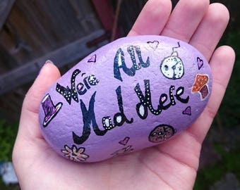 Alice in Wonderland,mad hatter, personalised stone, paperweight,decorated stone,pebble,hand painted stone, painted paperweight, purple stone