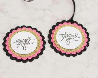 Kate Spade shower thank you tags, hot pink, black and gold thank you tags, favor tags, bridal shower tags, baby shower tags, glam bridal tag