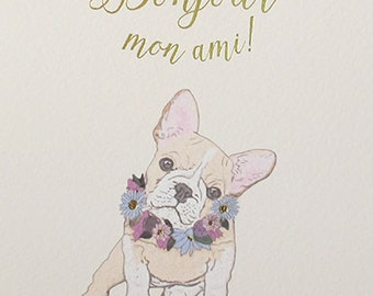 Cute dog Birthday card, Bonjour mon ami dog card for a friend, Dog lovers card just to say hello, Cute Friendship card,