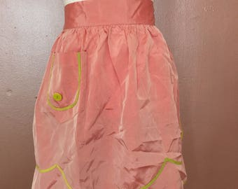 1950s pink and chartreuse apron