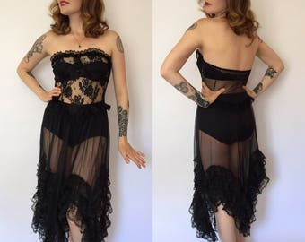 RESERVED do not buy Xs/s/m 1980s Andrea Kristoff for Escante black lace strapless negligee
