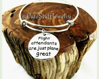 Flight Attendant bracelet, Flight Attendant Bangle, Handmade Flight Attendant Jewelry, Stewardess, Flight Attendants Are Just Plane Great