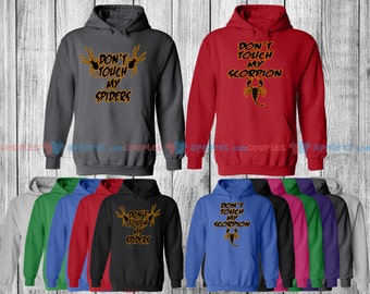 Don't Touch My Spider & Don't Touch My Scorpion - Matching Couple Shirts - His and Her T-Shirts - Love Tees