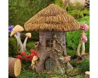 Fairy Garden  - Thatched Roof Tree Stump Fairy House - Miniature
