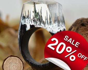 Snow Falling ( Handmade Wooden Resin Ring. Wood Resin Ring.  Wood jewelry. with Magnificent Tiny Fantasy Landscape )