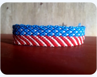 American Flag Friendship Bracelet - Wide