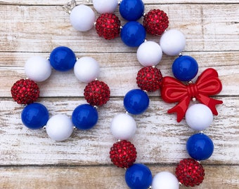 Toddler 4th of July Bubblegum Necklace, Red White and Blue Baby Jewelry, Patriotic Baby Chunky Necklace, 4th of July Baby Chunky Bubblegum