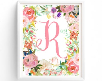 Art Prints, Letter R, Printable, Nursery Decor, Nursery Prints, Nursery Art, Letters, Monogram Floral Letter, Woodland Nursery