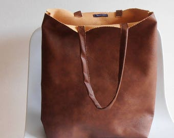 brown Bag, Tote Bag Brown, handbag, imitation leather, shopping bag