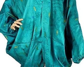 JACKET LONG SILK vest long coat, vest, loose, loose jacket, vtd64 lagoon green silk maxi