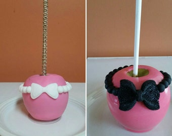 Light/Hot Pink Bow Barcelet  Chocolate/ Candy Dipped Apples